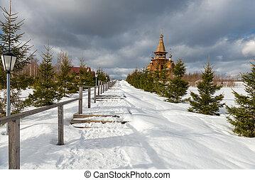 Temple of St. Sergius of Radonezh at the waterfall gremyachiy key. Svyatogorye. Moscow region, village Vzglyadnevo