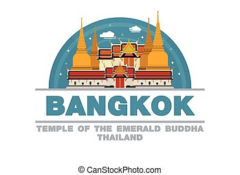 Temple of the emerald Buddha in Bangkok,Thailand Logo symbol flat design