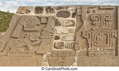 Temple of the Feathered Serpent in Xochicalco. Mexico. -...