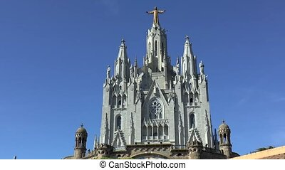 Temple of the Sacred Heart of Jesus, Mount Tibidabo, in Barcelona, Spain.