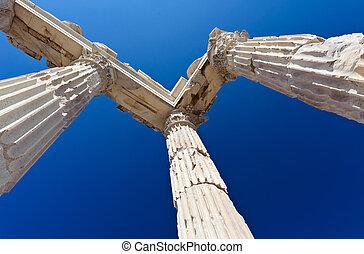 Temple of Trajan - Detail of ancient temple of Trajan, ...