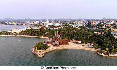 Temple of Truth in Pattaya, Thailand, top view.
