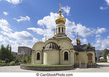 Temple of Xenia of St. Petersburg in Donetsk, Ukraine, 2016....