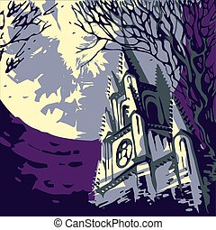 temple on backdrop of a huge full moon. Halloween landscape in retro. Vintage cityscape with catholic church and tree. mysterious night in the city.