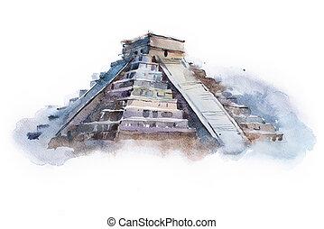 temple, peinture, mexique, aquarelle, pyramide, drawing., ...