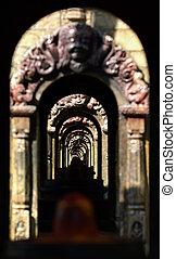 temple, pierre, hindou, ancien, tunnel.