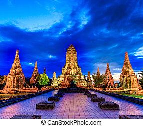 temple, province, ayuthaya, thaïlande, wat, chaiwatthanaram