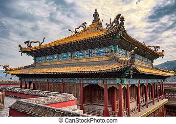 temple, province, hebei, xumi, temples, extérieur, fushou, porcelaine, chengde, huit
