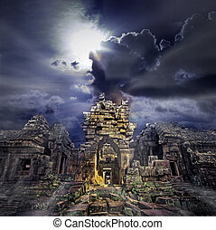 Cambodian temple ruins turning to rubble, blue sky background