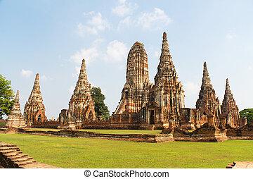 Temple Ruins of Wat Chai Wattanaram at the Unesco World...