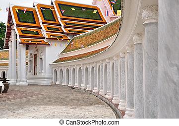 temple, 's, thaï, autour de, piédestal