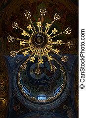 temple, saint, plafond, orthodoxe, sauveur, mosaïques, lustre, église, russie, petersburg