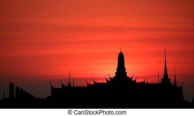 temple, silhouette, coucher soleil, dos, ciel, lever lune, nuage, bouddhiste, rouges