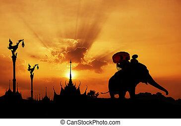 temple, silhouette, thaïlande, éléphant