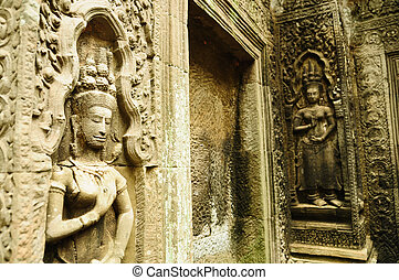 temple, statue, wat angkor