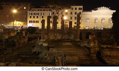 Temple - area sacra Roman ancient ruins in Largo di Torre...