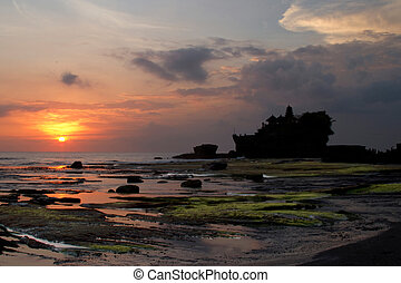 Temple Tanah Lot on Bali at sunset