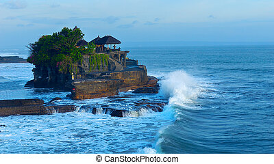 Temple Tanah Lot on coast of island Bali in Indonesia