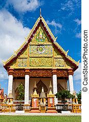 temple, thaï, église, thaïlande, north-east