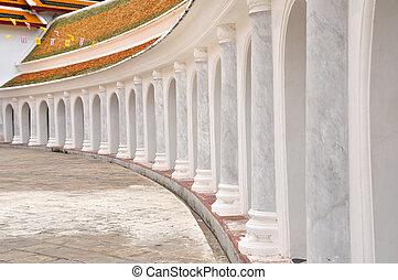 temple, thaï, 's, autour de, piédestal