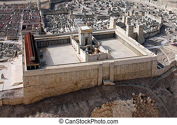 temple., tweede, oud, jeruzalem
