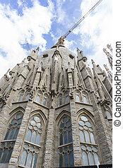 Temple under construction of the Sagrada Familia, Barcelona. Designed by Antonio Gaudi. Catalonia, Spain