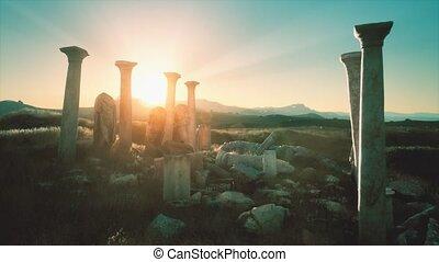 temple, vieux, grec, coucher soleil, ruines