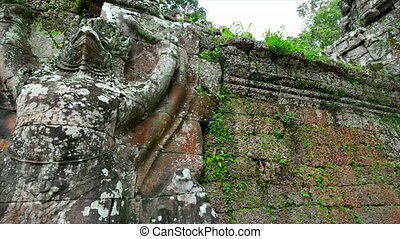 Temple wall with green moss - A medium shot of temple wall...