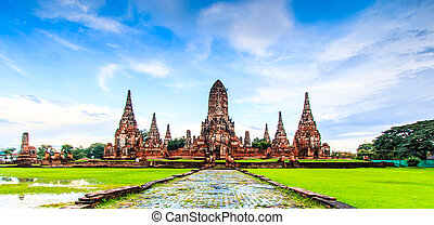 Temple wat Chaiwatthanaram of Ayuthaya Province Thailand
