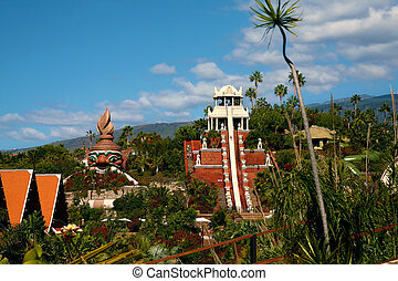 Postcard View from Siam Park, Tenerife, Temple waterslide
