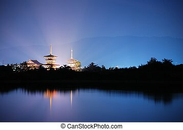 Temple with radiating light