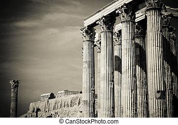 temple zeus olympien, et, acropole, athènes
