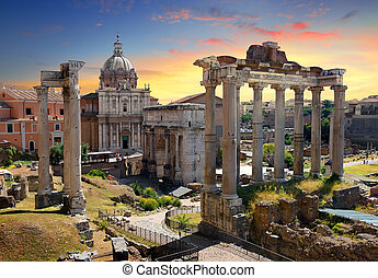 Temples and ruins of Roman Forum at sunset, Italy