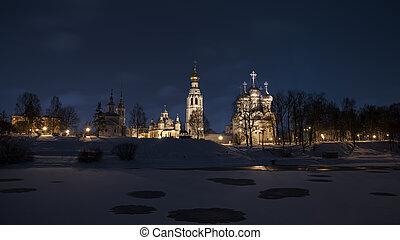 Temples of the Vologda Kremlin on a winter night. Vologda, Russia