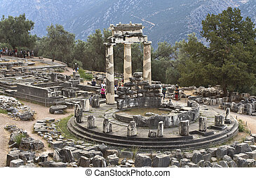 templo, athena, arqueológico, delphi, sitio, grecia, oráculo...