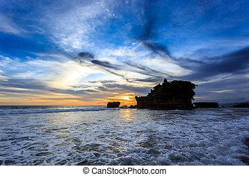 templo, bali, oceânicos, lote, ondas, tahah, pôr do sol