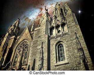 templo, catedral, e, a, charuto, galáxia, (elements, de,...