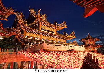 templo, chino, anochecer