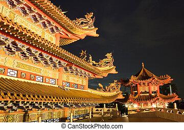 templo, chino, noche