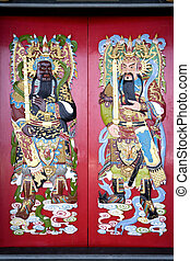 templo, chino, puertas