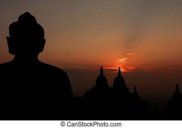 templo de borobudur, en, salida del sol