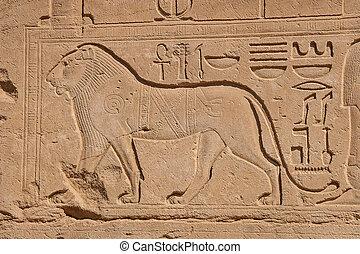 templo, de, karnak, egipto, -, exterior, elementos