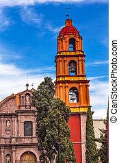 Templo Del Oratorio De San Felipe Neri Church Facade San Miguel de Allende, Mexico. Built in 1700s named for San Felipe Neri from Florence who founded Oratorio Catholic Order