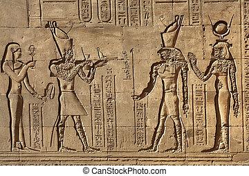 templo, egipto, pilón, edfu, alivio