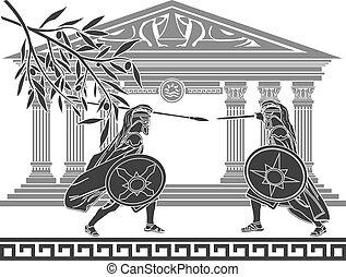 Templo, Grego, estêncil, guerreiros
