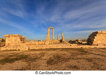 templo hércules, en, amman, ciudadela, al-qasr, sitio, jordania