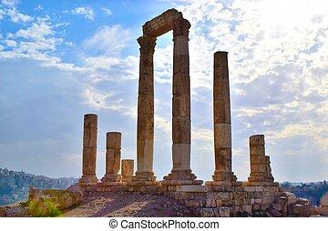 templo hércules, en, amman, ciudadela