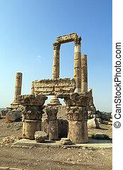 templo hércules, en, ciudadela, colina, en, amman