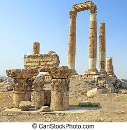 templo hércules, en, ciudadela, montaña, en, amman