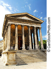 templo romano, en, nimes, francia